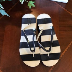 Blue & White striped Wedge Sandals